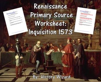 Renaissance Primary Source Worksheet: Inquisition 1573