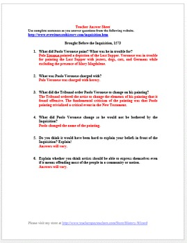Renaissance Primary Source Worksheet: Inquisition 1573
