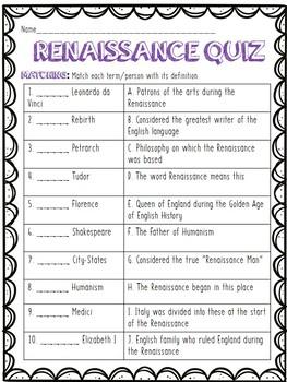 Renaissance Quiz- Covers key points- matching, true/false, short answer