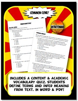 Renaissance Quiz & Test Common Core Writing & Literacy
