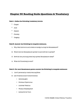 Renaissance Reading Guide Questions for TCI