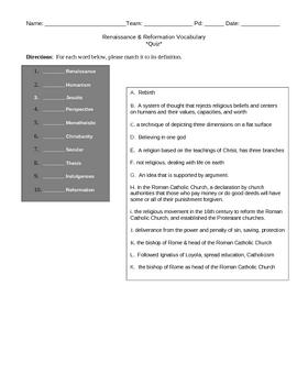 Renaissance & Reformation Bundle (Vocabulary Strategies)