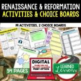 Renaissance & Reformation Activities, Choice Board, Print & Digital, Google