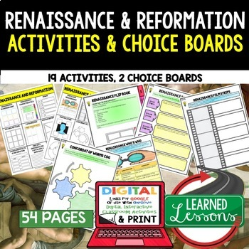 Renaissance & Reformation Activities, Choice Board, Print & Digital, Google