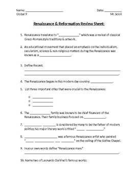 Renaissance & Reformation Review Sheet