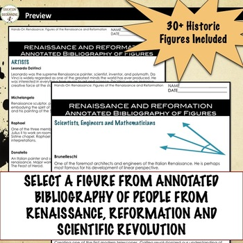 Renaissance and Scientific Revolution Research and Role Play Project UPDATED