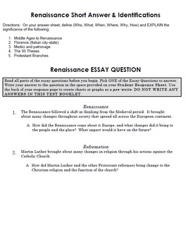 renaissance history essay questions Documentary questions and answers: history of the renaissance a history channel documentary with peter weller sqd's handouts and lessons history of the.