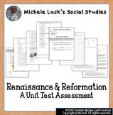Renaissance & Reformation Unit Test Multiple Choice and Essay