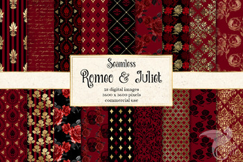 Renaissance Romeo and Juliet digital scrapbook paper backgrounds red gold black