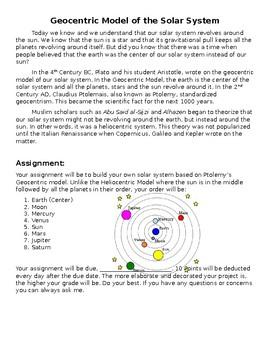 STEM World History - Renaissance Solar System Project