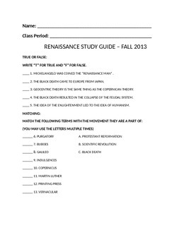 Renaissance Study Guide (& Study Guide Plus Answers)