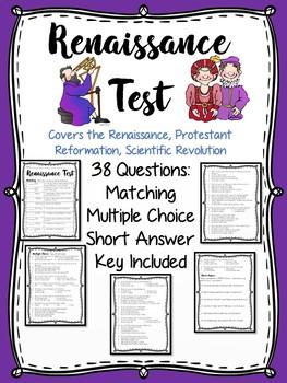 Renaissance Test, matching, multiple-choice, Protestant Reformation, Tudors