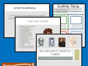 Renaissance Trading Cards with Powerpoint Game Trading Activity