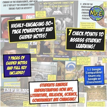 Renaissance Unit Guided Notes! 80+ Page PowerPoint & Notes to Teach Renaissance!