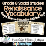 Renaissance Vocabulary Escape Room and Interactive Notebook Pages