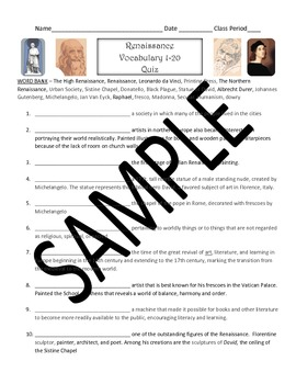 Renaissance Vocabulary Sets and Quizzes (modified quiz included for all sets)