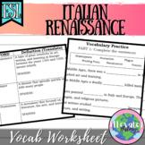 Renaissance Vocabulary Worksheet for EL/ESL/ENL