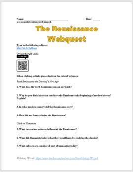 Renaissance Webquest and Answer Sheet (Great Lesson Plan)