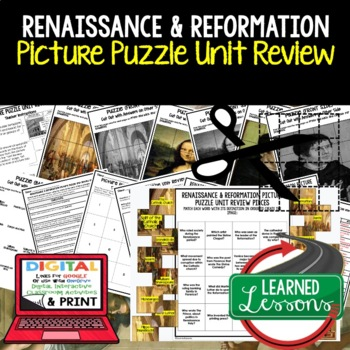 Renaissance and Reformation Picture Puzzle Unit Review, Study Guide, Test Prep