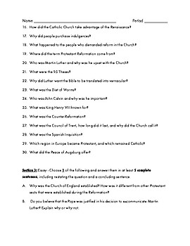 Renaissance and Reformation Study Guide