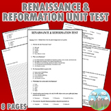 Renaissance and Reformation Unit Test / Exam / Assessment