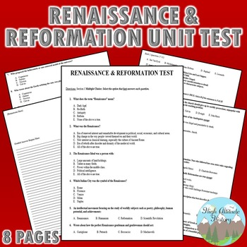 Renaissance and Reformation Unit Test / Exam / Assessment