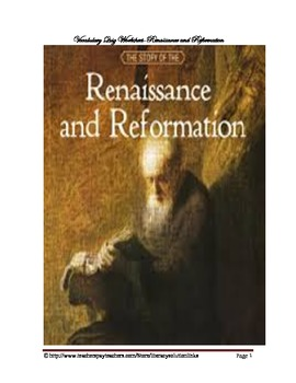 Renaissance and Reformation Vocabulary Quiz Worksheet