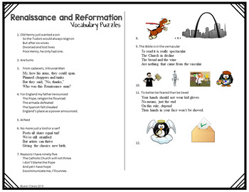 Renaissance and Reformation Vocabulary Unit