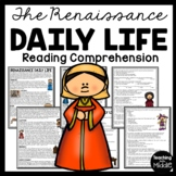 Renaissance daily life worksheet, European History, School, Clothing