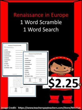 Renaissance in Europe Bundle - 1 Word Scramble & 1 Word Search