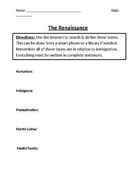 Renaissance & Reformation Homework Definitions