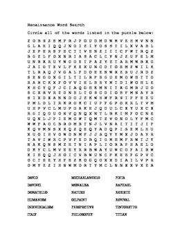 Renaissance word search
