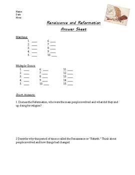 Renaissance/Reformation Unit Test