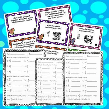 Renaming Fractions and Mixed Numbers Task Cards and 4  *NO PREP* Worksheets
