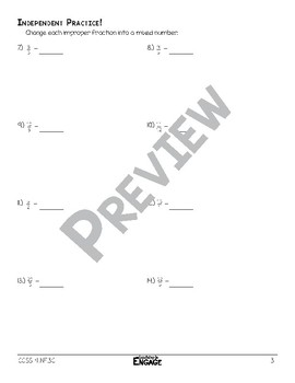 Renaming Improper Fractions to Mixed Numbers Math Video and Worksheet