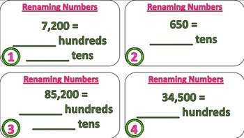 Renaming Numbers Task Cards