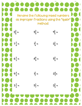 Renaming a mixed number as an improper fraction Unit
