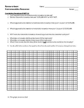 Renew-a-Bean worksheet - energy resources
