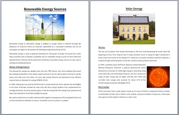 Renewable Energy Production - Clean Electricity - Science Reading Article