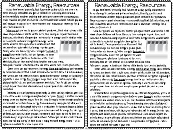 Renewable Energy Resources Reading Comprehension Interactive Notebook