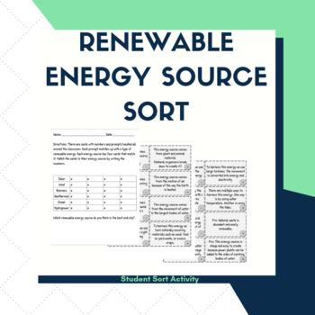 Renewable Energy Source Sort by Miss C's Middle School STEM | TpT