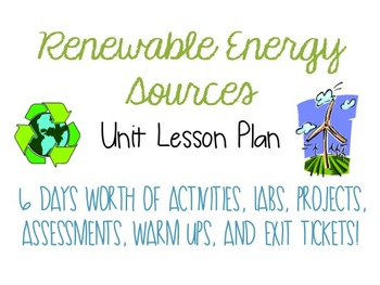 Renewable Energy Sources Unit Lesson Plan by Science with Malen | TpT
