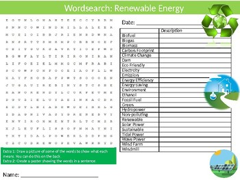 Renewable Energy Wordsearch Puzzle Sheet Keywords Science Physics