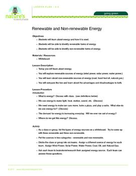 Renewable Energy and Non-renewable Energy Lesson Plans Grades 2-5