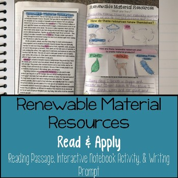 Renewable Material Resources Reading Comprehension Interactive Notebook