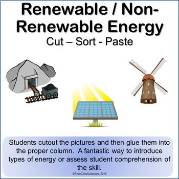 Renewable / Non-Renewable Energy Science Cut Sort & Paste Worksheet ...
