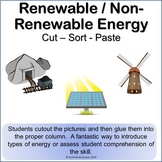 Renewable / Non-Renewable Energy Science Cut Sort & Paste Worksheet Activity