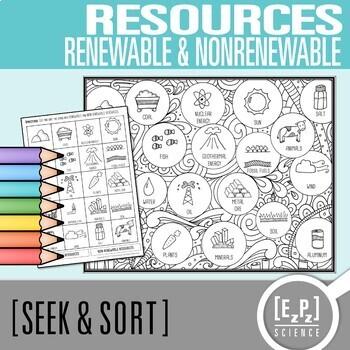 Renewable & Non-Renewable Resources Seek and Sort Science Doodle & Card Sort