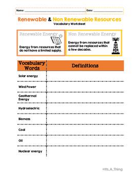 Renewable & Non Renewable Resources Vocabulary