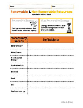 Renewable & Non Renewable Resources Vocabulary
